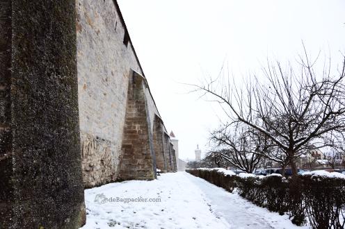 Pagar tembok Rothenburg o.d. Tauber, tampak dari luar