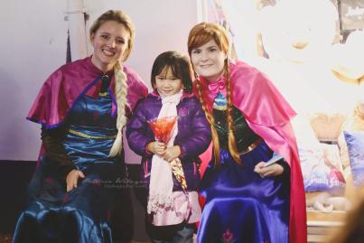 Noni with her favorite princesses; Elsa & Anna